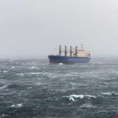 Vessel at stormy sea