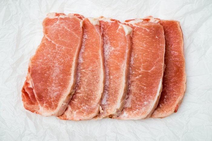 Frozen meat steaks