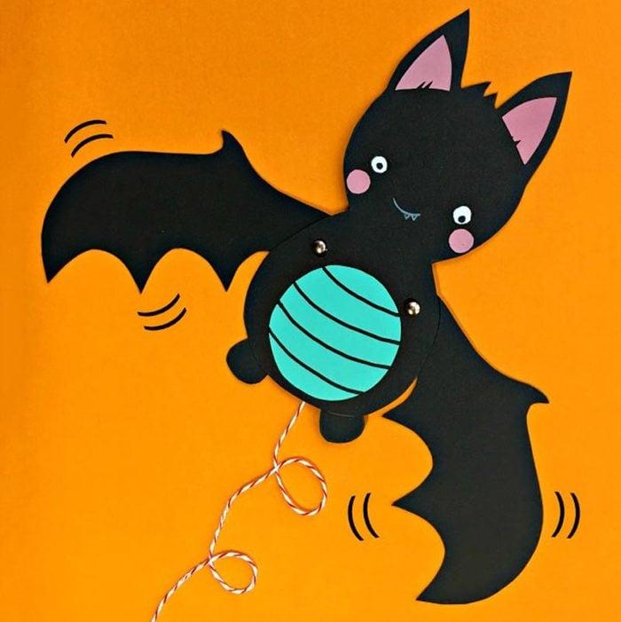 bat puppet halloween craft