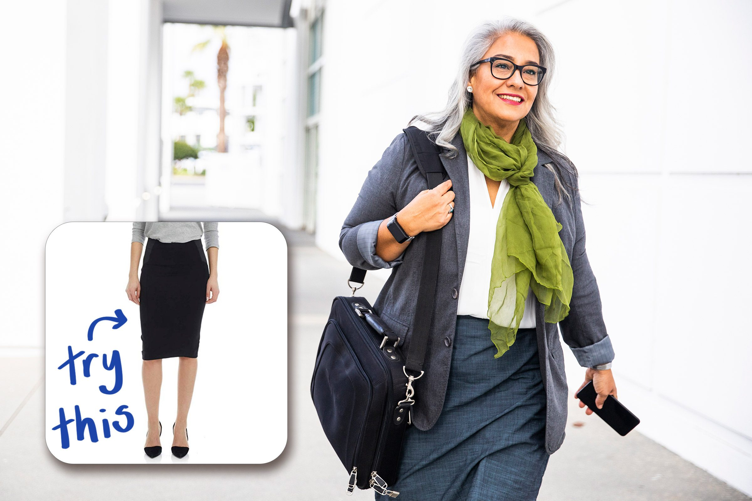 mature woman walking. try this pencil skirt.