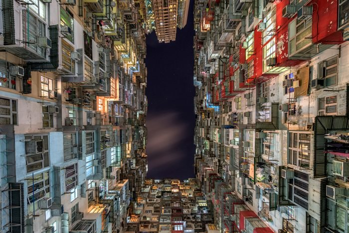 Old Residential building in Hong Kong that looks like a motherboard