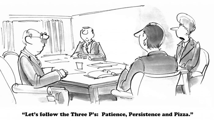 patience, persistence and pizza business cartoon
