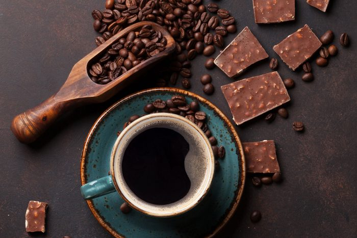 overhead view of coffee, beans, chocolate