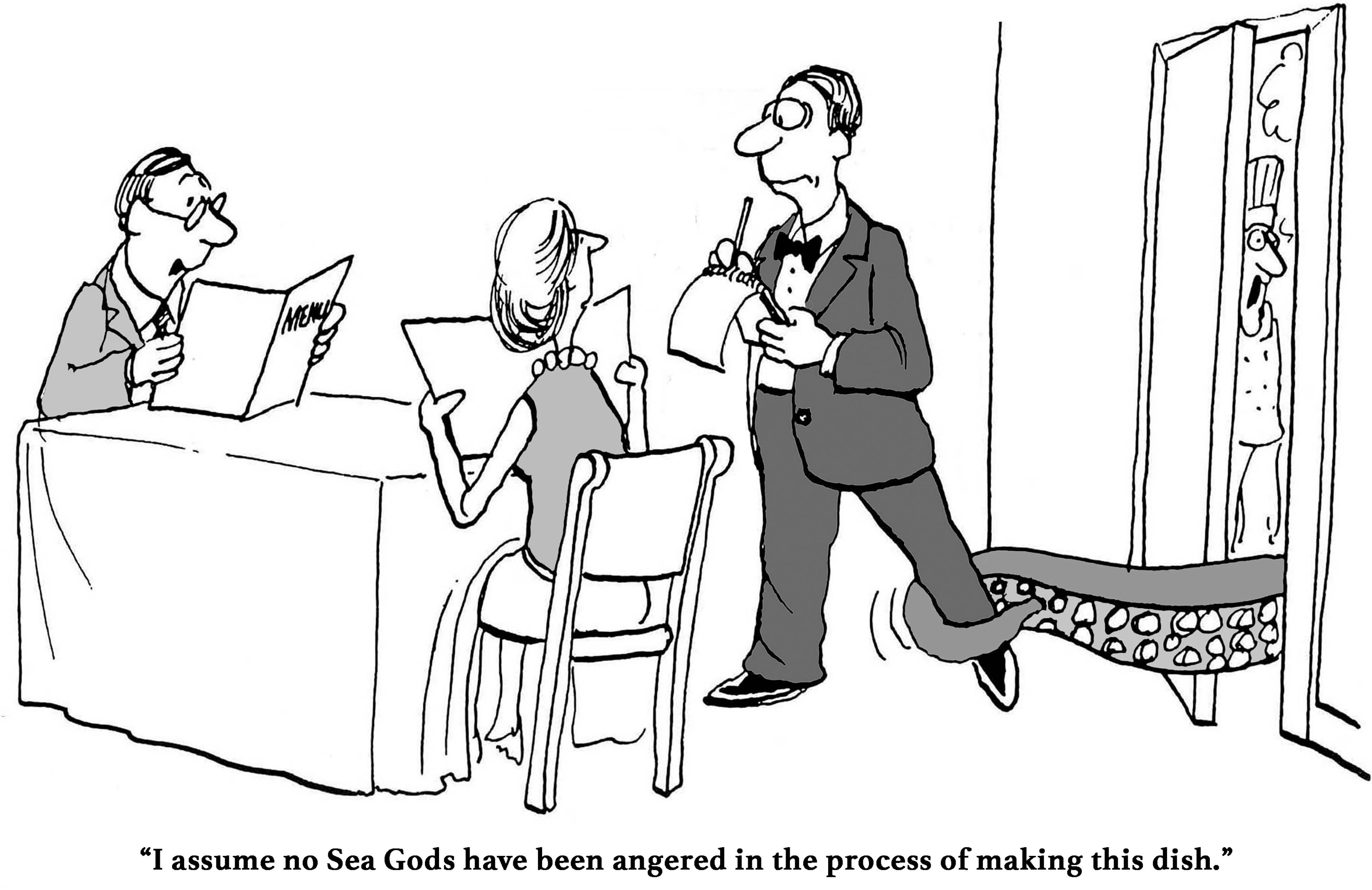 sea gods restaurant cartoon