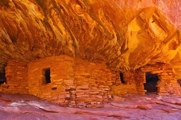 North America, USA, Utah, Texas Flat Road, Mule Canyon Ruins, House of Fire that looks like flames
