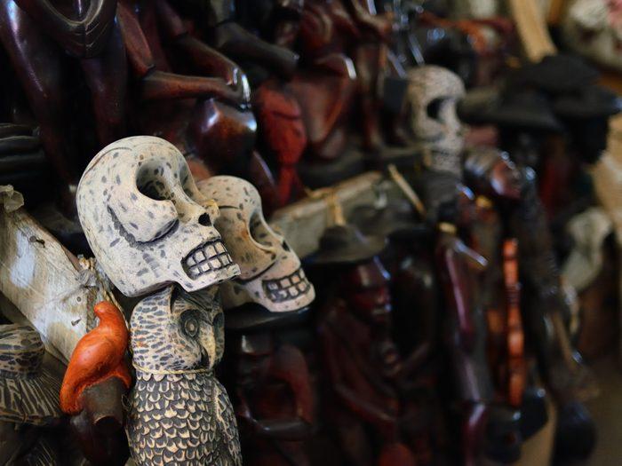 Figurines voodoo on Iron Market in the centre of capital city Haiti