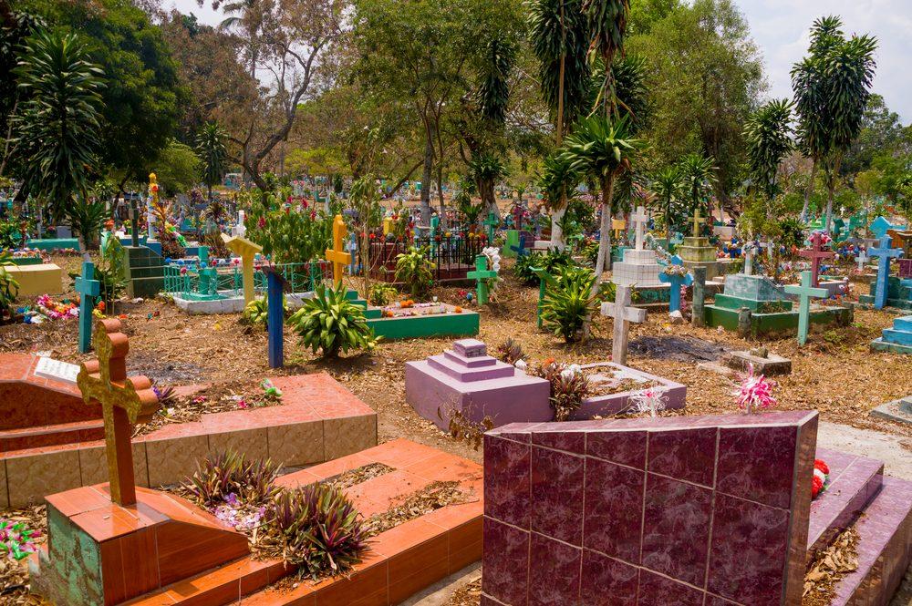 Central american colorful graveyard, cementery at El Salvador