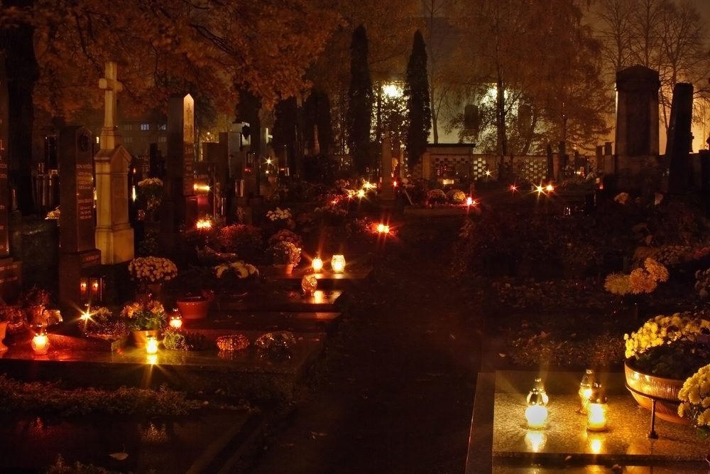 All Souls' Day at cemetery , Czech republic, Europe