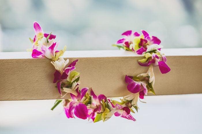 Hawaii luau icon travel concept: Fresh lei flowers necklace, Kauai hawaiian island tropical vacation background.