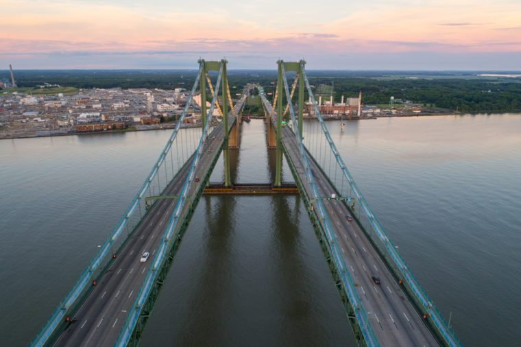 Aerial drone image of the Delaware Memorial Bridge