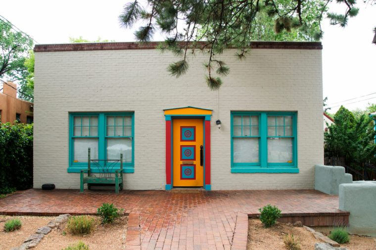 A colorful house in Santa Fe, New Mexico on a rainy day.