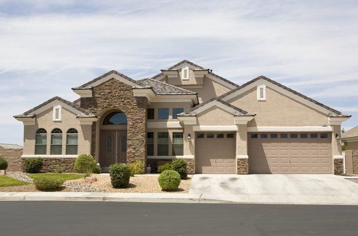 Tan stucco modern home in Las Vegas Nevada