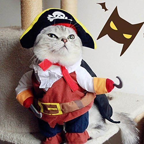 Idepet Funny Pet Clothes Pirate Dog Cat Costume Suit Corsair Dressing up Party Apparel Clothing for Cat Dog Plus Hat
