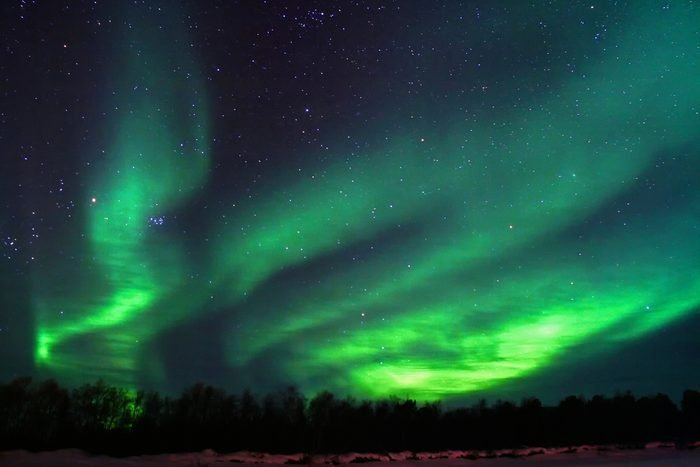 Northern lights (aurora borealis) display near Kaamanen, Finland