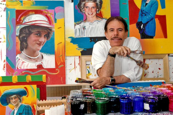 Peter Max with his work
