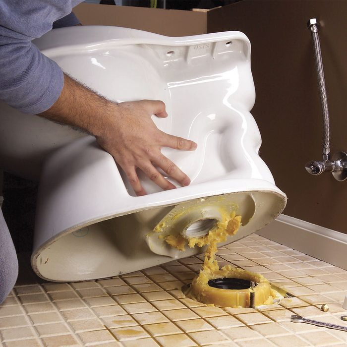 replacing an old toilet