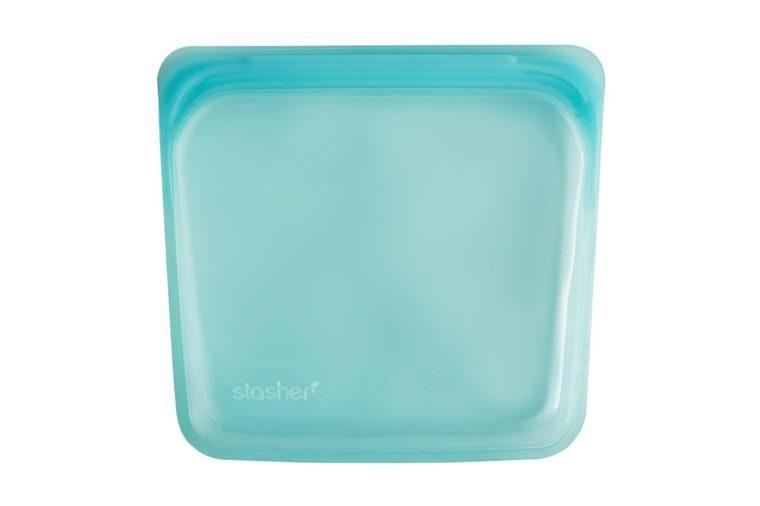 Stasher Reusable Silicone Food Bag, Sandwich Bag, Sous vide Bag, Storage Bag, Aqua
