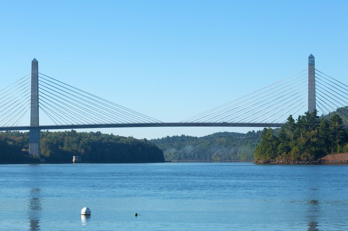 View of the Penobscot Narrows Bridge that connects Verona Island to Prospect, Maine over the Penobscot River.