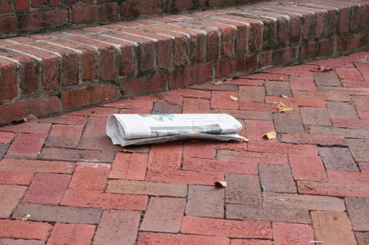 Newspaper on the steps