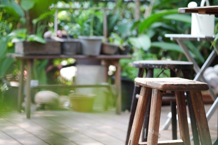 wooden stool in green Garden
