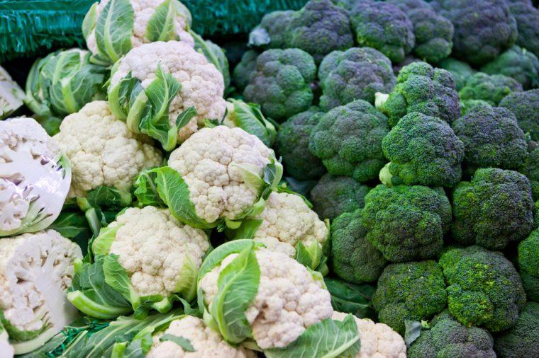 broccoli and cauliflower on market