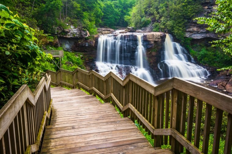 Blackwater Falls and a trail at Blackwater Falls State Park, West Virginia.