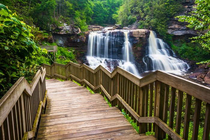 Blackwater Falls and a trail at Blackwater Falls State Park, West Virginia.
