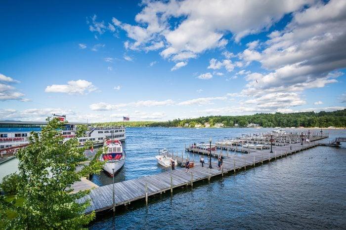 View of docks on Lake Winnipesaukee in Weirs Beach, Laconia, New Hampshire.