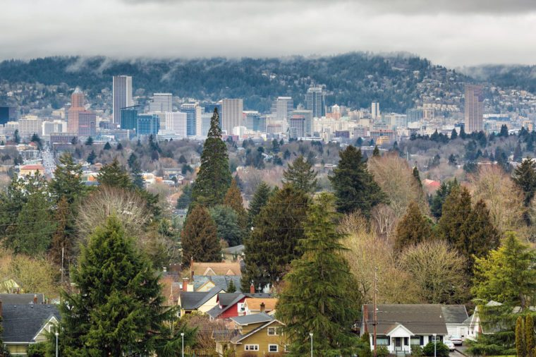 City of Portland Oregon Skyline from Mount Tabor