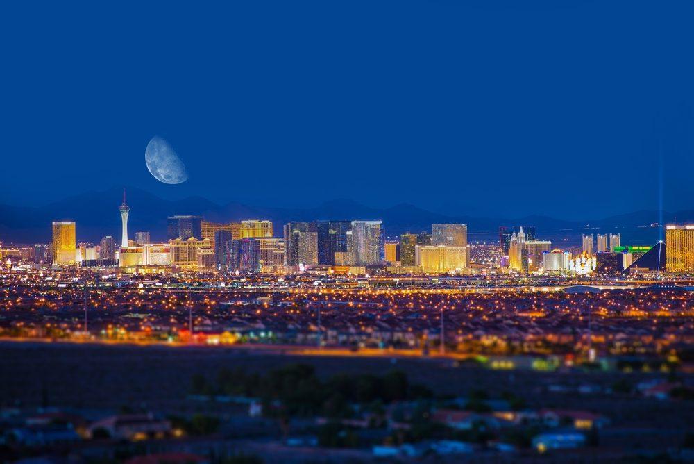 Las Vegas Strip and the Moon. Las Vegas Panorama at Night. Nevada, United States.
