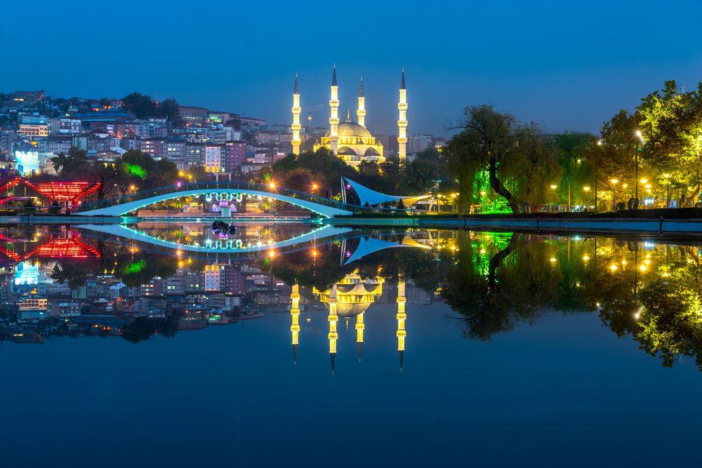 New Melike Hatun Mosque view from Genclik Park in Ankara, Turkey