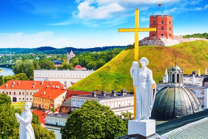 Scenic summer view of the Old Town architecture with Gediminas Tower in Vilnius, Lithuania