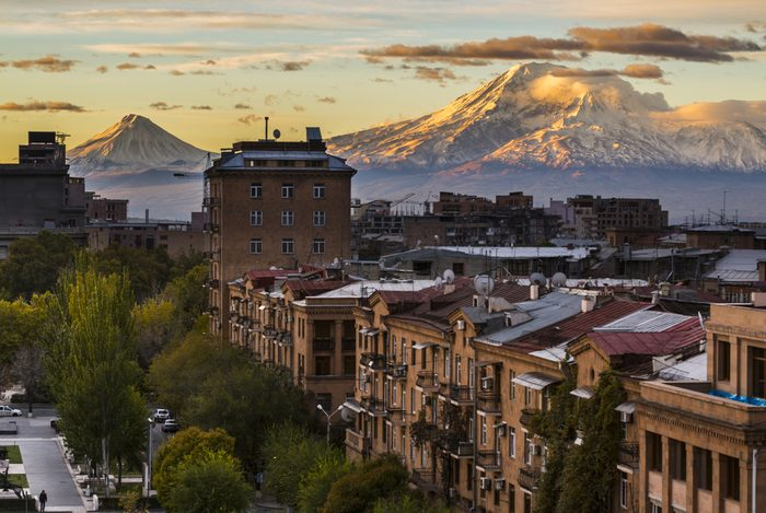 Yerevan City view with majestic Ararat mountain in the background. Sunrise in Erevan - the capital of Armenia. Travel to Armenia, Caucasus.