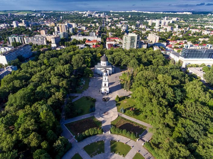 Chisinau, the capital city of the Republic of Moldova. Aerial view of the central park, from drone. Chisinau is the name of the city}