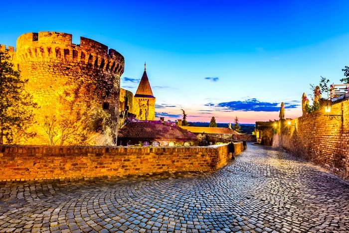 Belgrade, Serbia. Kalemegdan Fortress in the night, ancient Singidunum.