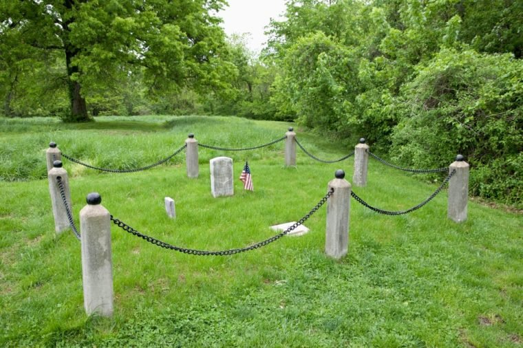 Civil War graves in the Battle of Lexington site in Missouri.