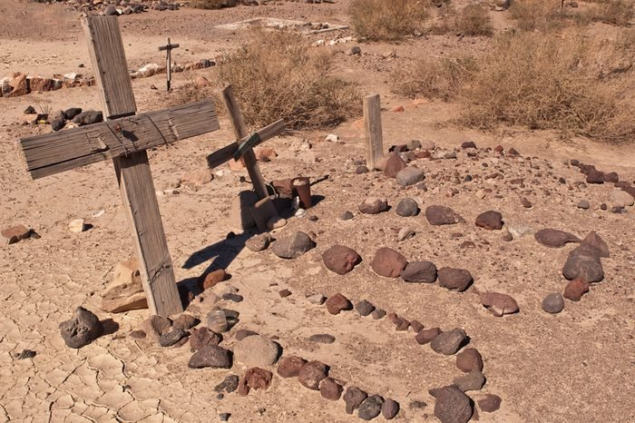 Several desert graves in the Mojave Desert in California.