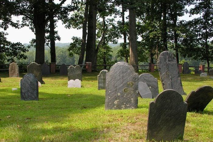 Grave stones facing valley.