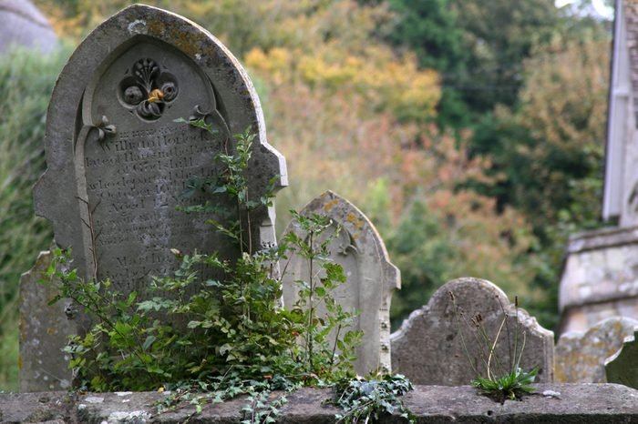 Gravestones in an English churchyard