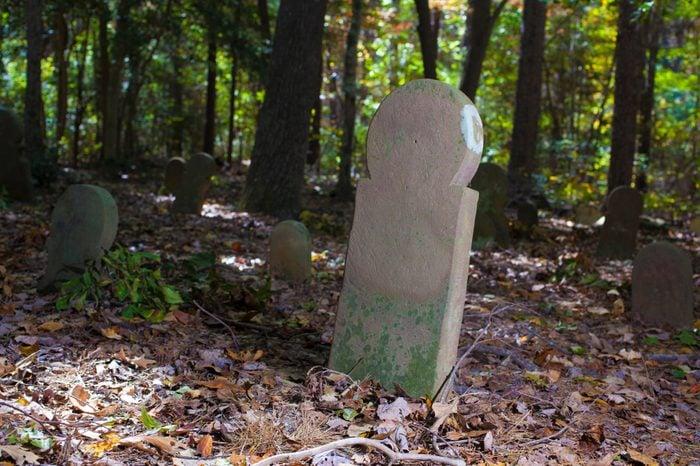 Very old stone grave stones in Old Scottish Cemetery in North Carolina