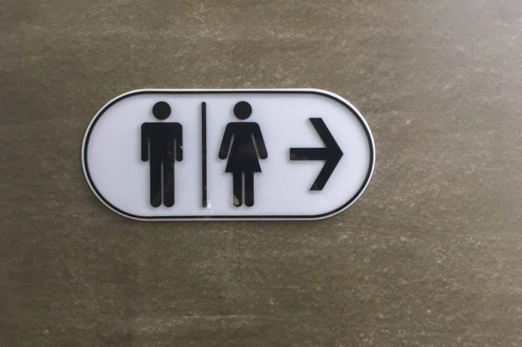 Signs bathroom on brick wall
