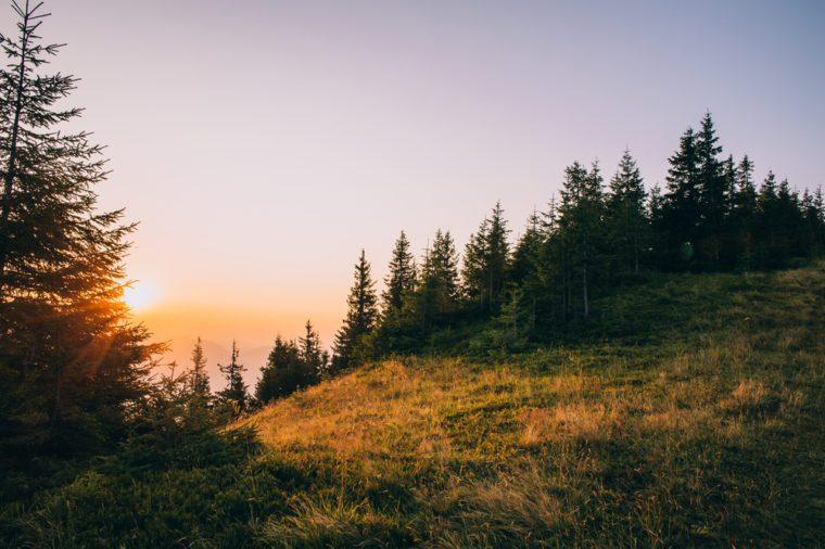 Beautiful sunrise in the Carpathian Mountains Ukraine.