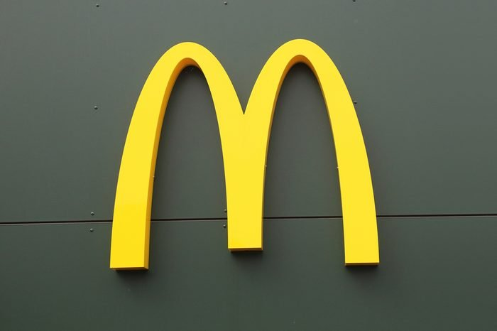 AMSTERDAM - OCTOBER 20: Mcdonalds Logo on the wall of the restaurant onOctober 20,2015