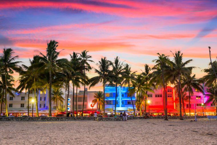 Miami Beach, Florida, USA on Ocean Drive at sunset.