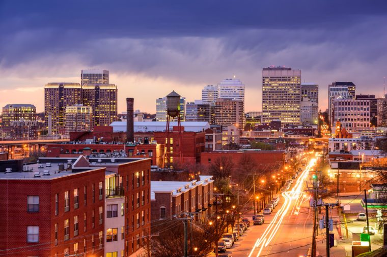 Richmond, Virginia, USA downtown cityscape over Main Street.