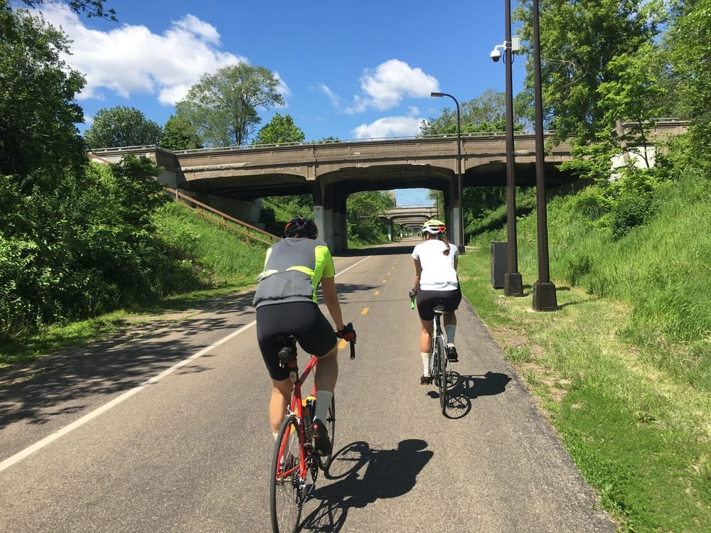 Cyclists on an urban bike path.
