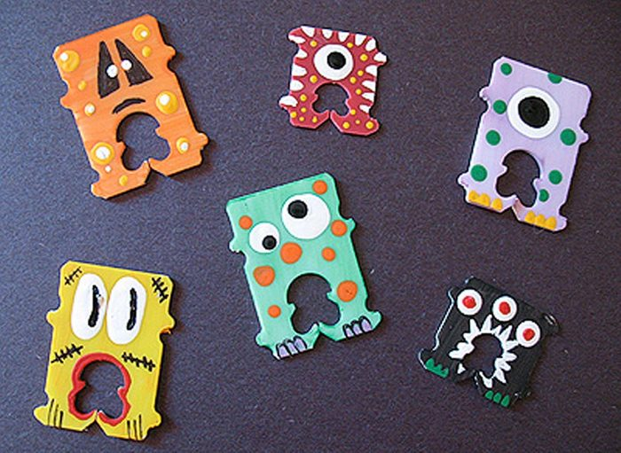 bread tag monsters halloween craft