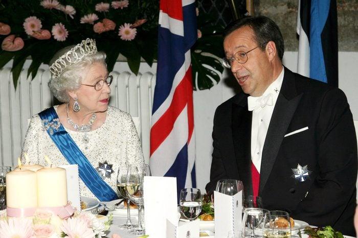 Queen Elizabeth II and Estonian President Toomas Hendrik at banquet