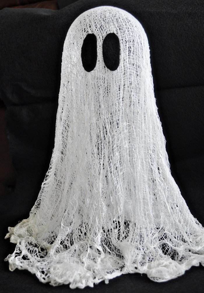 floating cheesecloth ghost halloween craft