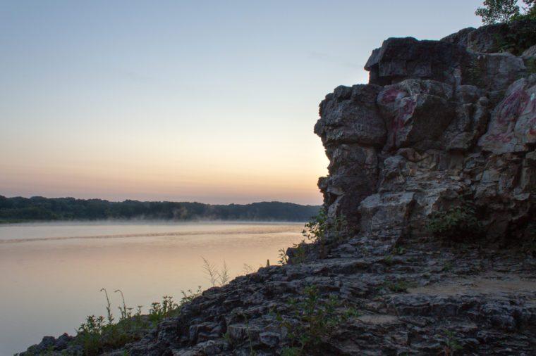 CORALVILLE, IOWA / UNITED STATES - July 28 2018: Iowa River at dawn